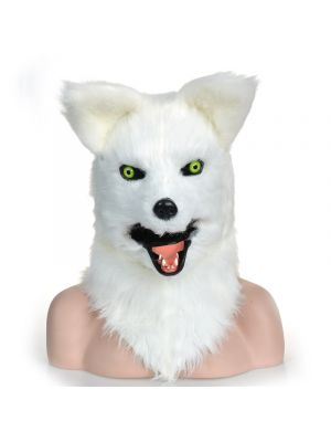 Moving Mouth White Fox Mask