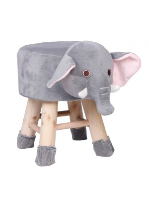 Kids Gray Elephant Face Stool