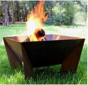 NATURAL RUST FINISH DESIGNER QUALITY 2MM STEEL 60CM OPEN FIRE PIT SQUARE WITH STAND **NEW**
