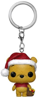 Keychains--Winnie the Pooh - Winnie the Pooh Diamond Glitter Holiday US Exclusive Pocket Pop! Keychain [RS]