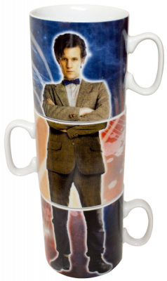 Mugs--Doctor Who - Tenth & Eleventh Doctors Stacked Mug Set