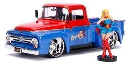 Diecast Figures--DC Bombshells - Supergirl 1956 Ford F100 1:24 Scale Hollywood Rides Diecast Vehicle